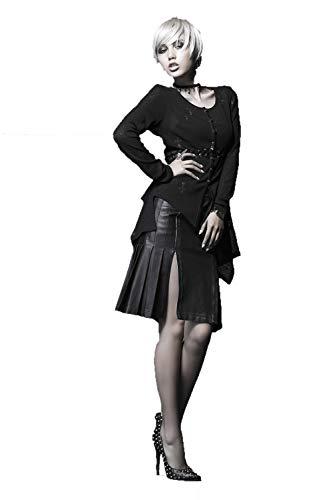 女性のsteampunkトップスレトロブラックスリムな編みブラウスのトップス