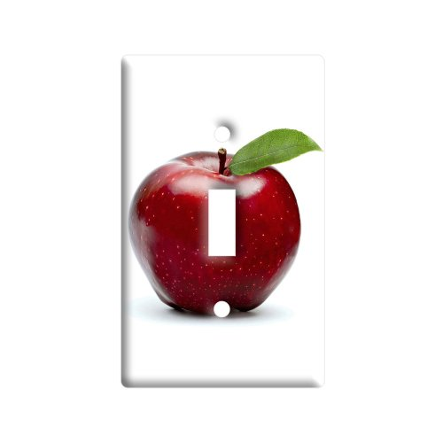(Red Apple - Plastic Wall Decor Toggle Light Switch Plate Cover)