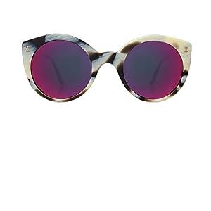 ILLESTEVA Palm Beach Designer Sunglasses, Mirrored, Non-Polarized Women's Sunglasses (Horn, Pink)