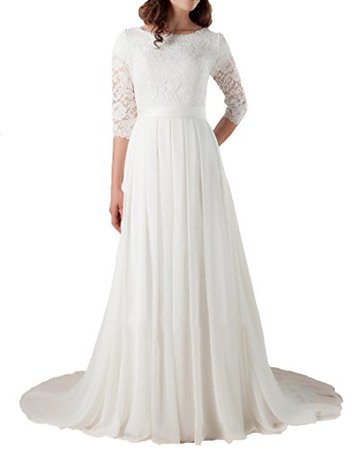 Miao Duo Modest Bridal Gowns Lace with 3/4 Illusion Sleeves Wedding Dresses White