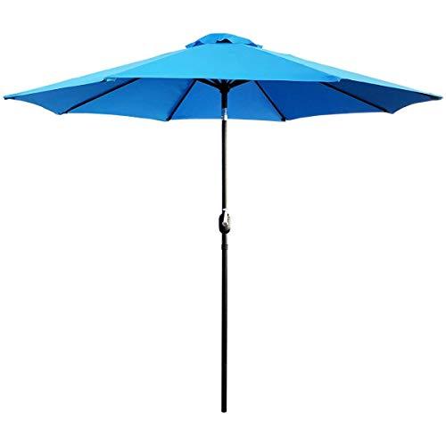 ABBLE Outdoor Patio Umbrella 9 Ft with Tilt and Crank, Weather Resistant, UV Protective Umbrella, Durable, 8 Sturdy Steel Ribs, Market Outdoor Table Umbrella, Aqua