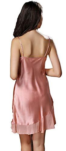 Fashion Colores Dormir Vestido Verano Ropa Batas Pijamas De cuello Sin Camisón Rosa Basic V Sólidos Mujer Off Mangas Elegantes Spaghetti Shoulder ZpqtnCw