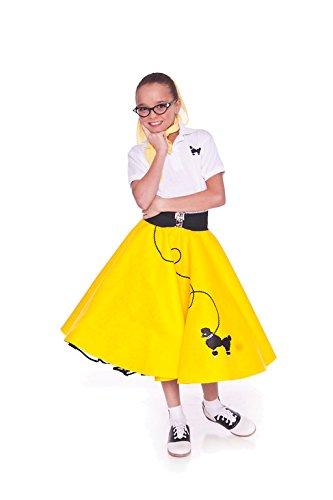 Hip Hop 50s Shop 4 Piece Child Poodle Skirt Costume Set, Size Medium Yellow (Hip Hop Dance Costumes For Teenagers)