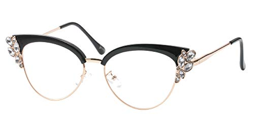 SOOLALA Womens Rhinestones Clubmaster Cateye Reading Glass E