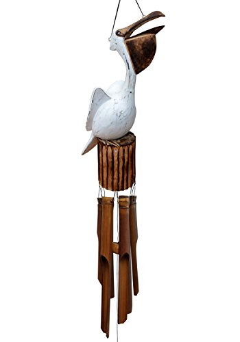 Cohasset Gifts | | | # 115G | Cohasset Galvin Open Mouth Pelican Bamboo Wind Chime Approximately 15″ |, Hand Carved Distressed White Finish |
