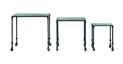 Creative Co-op DA3823 Black Metal Nesting Table Set with Casters, -