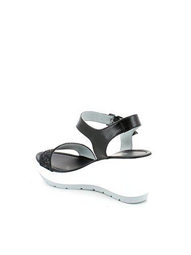 Sandalo Glitter Nero con zeppa N. 37