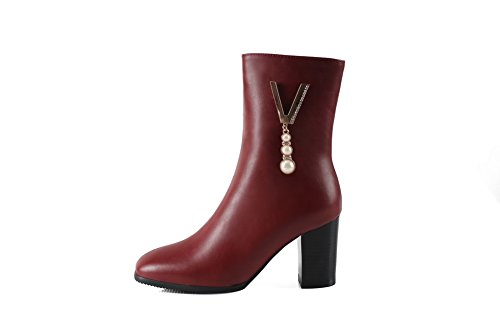 Warm Waterproof Smooth Womens Heel Leather B US Toe Charms Urethane M Kitten Closure Red Boots Boots 1TO9 No MNS02602 Lining Closed Dress 4 8xfdwvPfq