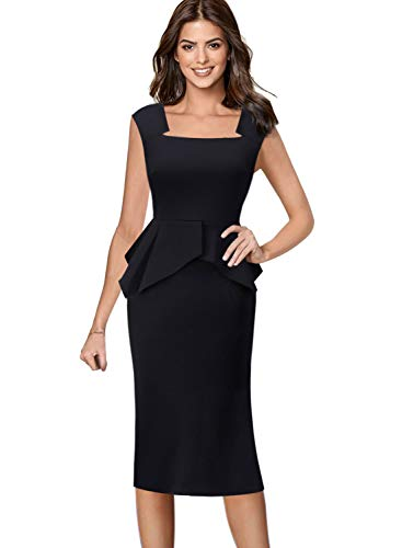 VFSHOW Womens Black Square Neck Peplum Wear to Work Business Midi Sheath Dress 2752 BLK M
