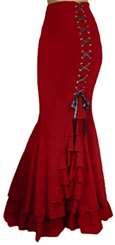 (XS-P28) Rainy Night in London - Ruby Red Victorian Gothic Ruffle Steampunk Maxi Vintage Style Skirt (XS) -