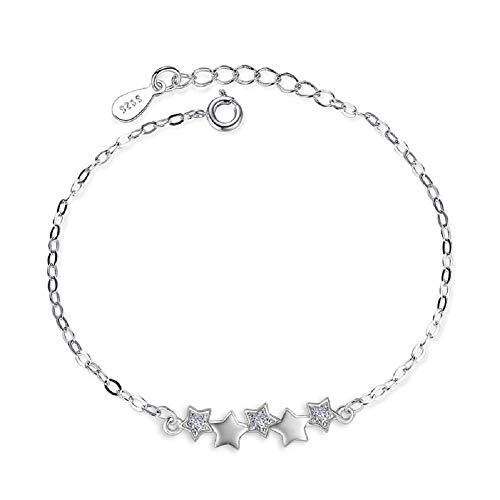 (MINIVOG Women's S925 Silver Star Anklets Chain Handmade Zircon Crystal Bracelet Foot Jewelry)