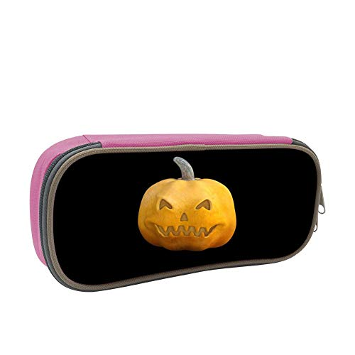 Yellow Smiley Face Pumpkin Large Capacity Dirty And Waterproof Multi-Layer Pencil Case Pink]()