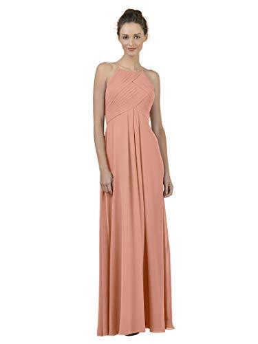Alicepub Long Chiffon Bridesmaid Dress Maxi Evening Gown A Line Plus Party Dress, Peach Pink, - Formal Bridesmaids Gown Peach