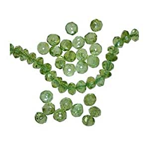 uGems Peridot Genuine Gemstone Faceted Rondelle Beads 4mm (Qty=24)