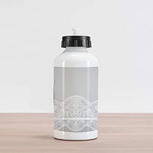 (Lunarable Grey Aluminum Water Bottle, Victorian Fashion Style Wedding Ethnic Mesh Paisley Motif Renaissance Kitsch Artwork Print, Aluminum Insulated Spill-Proof Travel Sports Water Bottle, White)