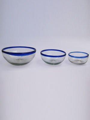 (Mexican Blown Glass Snack Bowls Cobalt Blue Rim (3 Pieces))