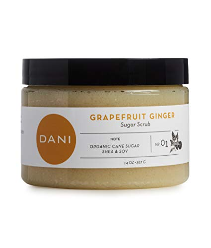 DANI Naturals Exfoliating Sugar Scrub - Exfoliates and Moisturizes Skin with Organic Cane Sugar and Shea Butter - Paraben & Phthalate Free, Vegan - Grapefruit Ginger Fragrance - 14 oz