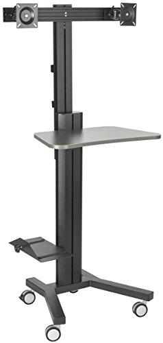 Lockable Cpu Holder - Displays2go Sit Stand Workstation, Dual Monitor Mount, Locking Wheels with CPU Holder (LPGPCRTB2H)