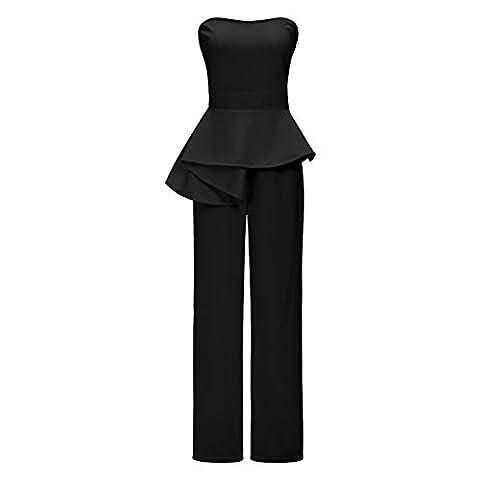Womens Sexy Off Shoulder Strapless High Waist Peplum Ruffle Wide Leg Long Pants Jumpsuit Romper Black, Large
