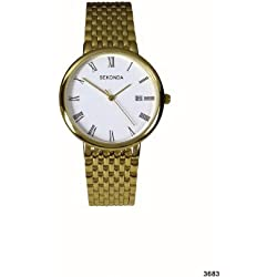Sekonda Men's Quartz Watch with White Dial Analogue Display and Gold Bracelet 3683.27