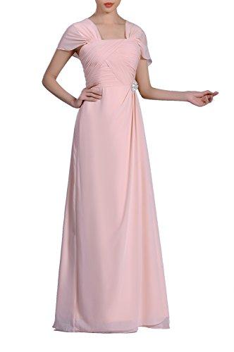 Formal Pleated Chiffon Bateau Sleeveless Sheath Long Mother of the Bride Groom Dress, Color Baby Pink (Pleated Silk Like Satin)