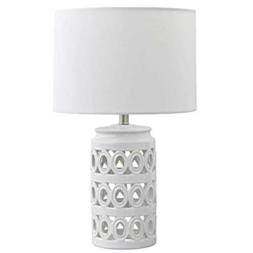 (Stone & Beam Ceramic Geometric Cut-Out Table Desk Lamp With LED Light Bulb - 11 x 11 x 18.3 Inches, White)