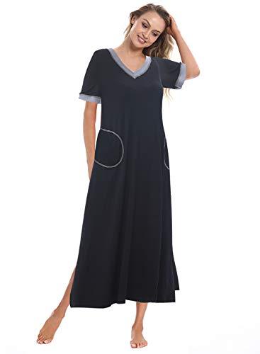 393fdddb4f Gracyoga Cotton Nightgown Women V Neck Sleepwear Short Sleeve Nightshirt  Long Sleep Dress with Pockets