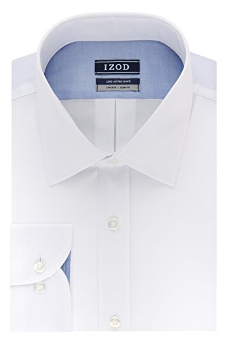 IZOD Men's Dress Shirt Slim Fit Stretch Solid, White, 15