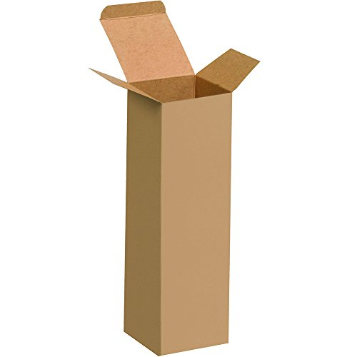 """Aviditi RTS20 Reverse Tuck Folding Cartons, 2 1/2"""" x 2 1/2"""" x 8"""", Kraft (Pack of 250)"""