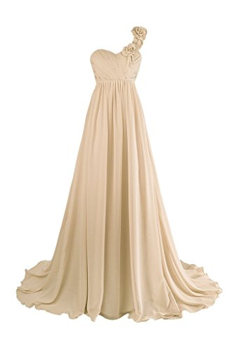 Dresstore Women's One Shoulder Long Bridesmaid Evening Dress with Hand Made Flowers Champagne US 8
