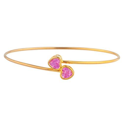 (14Kt Gold Pink Sapphire Heart Bezel Bangle)