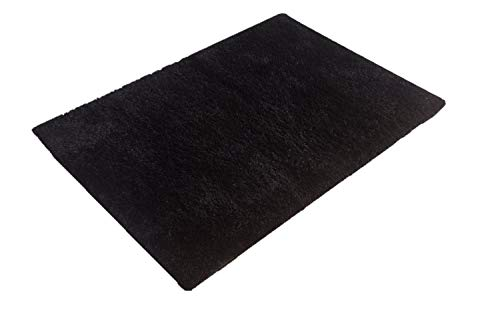 MBIGM Living Room Bedroom Rugs, Ultra Soft Modern Area Rugs Thick Shaggy Play Nursery Rug Non-Slip Carpet Pad Living Room Bedroom 4 Feet 5.2 Feet, Black