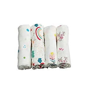 Baby Muslin Swaddle Blanket Bamboo Extra Large 120 x 120CM 4 Pack Pre-Washed Ultra Soft (4pcs Gift Box)