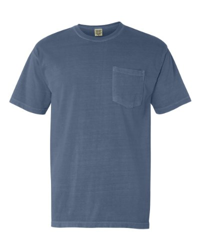 Comfort Colors Pigment-Dyed Short Sleeve Shirt with a Pocket, L, Blue Jean Comfort Colors 100% Garment