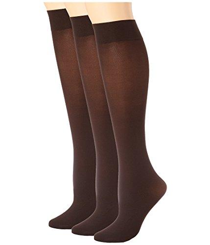HUE Women's Soft Opaque Knee High 3-Pack Espresso (Hue Knee High Socks)
