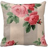 Decorative Cotton 18 X 18 Twin Sides Vintage Cabbage Rose Wallpaper - Pillowcase