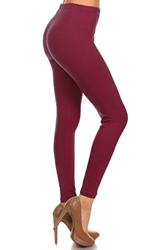 Leggings Depot Ultra Soft Basic Solid Plain Best Seller Leggings Pants (One Size (Size 0-12), Burgundy)