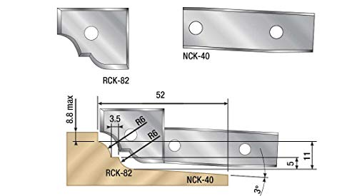 Amana Tool NCK-40 Pair of Solid Carbide Insert Raised Panel Knives 40 x 20 x 1.5mm for no. 61241 ()