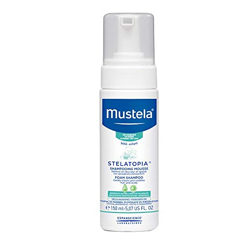 Mustela Stelatopia Foam Shampoo, Baby Shampoo, for Eczema-Prone Skin, with Natural Avocado Perseose, Fragrance-Free, 5.07 Ounce (Best Shampoo For Eczema Child)
