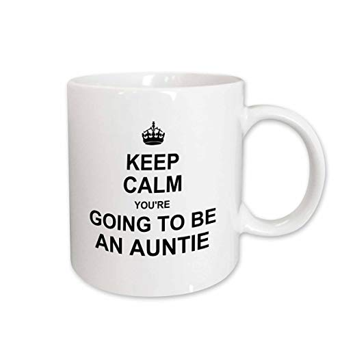 3dRose mug_194457_1 Keep Calm Youre Going To Be An Auntie Future Aunt Auntie Text Gift Ceramic Mug, 11-Ounce