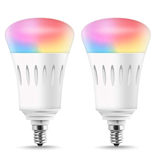 LOHAS E12 Smart Bulb Candelabra Base, A19 LED 60W Equivalent Wifi Control Lights, Multicolor RGB Dimmable LED Bulb, Voice Control, 810 Lumen, Compatible with Amazon Alexa&Google Assistant&Siri, 2PACK