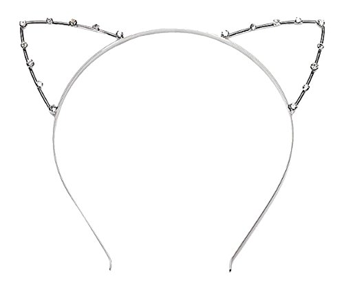 Generic Leegoal Crystal Pearl Shot In Cat Ears Child/Adult Hair Bands, Silver