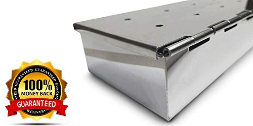 Smoker Box for Your Propane Gas Grill or Charcoal BBQ - Char Broil Smoker Flavor Meat with Wood Chips in 25% Thicker and Hinged Stainless Steel Grilling Accessories - Tool WON'T WARP Char Broil Grill And Smoker Accessories