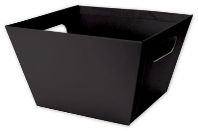 Solid Color Specialty & Event Boxes - Black Square Market Trays, 8 x 8 x 5