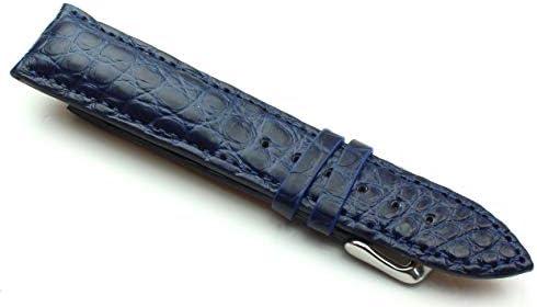 21mm Echt Alligator Vintage hangemacht in Deutschland Uhrenarmband Blau