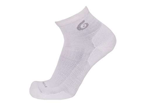 Point6 Active Life, Extra Light Mini Crew sock - X Large, White with a Helicase sock ring