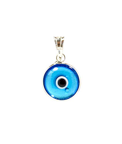 (MIZZE Made for Luck Transparent Light Blue Authentic 925 Sterling Silver 10 MM Round Glass Evil Eye Charm Pendant )