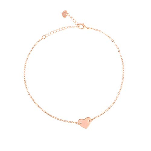 S.J JEWELRY Fremttly Friendship Gift Handmade Dainty Anklet 14K Gold Filled/Silver Star Lucky Beads Lace Chain Adjustable Foot Chain for Womens-ANK-C Heart-Rose