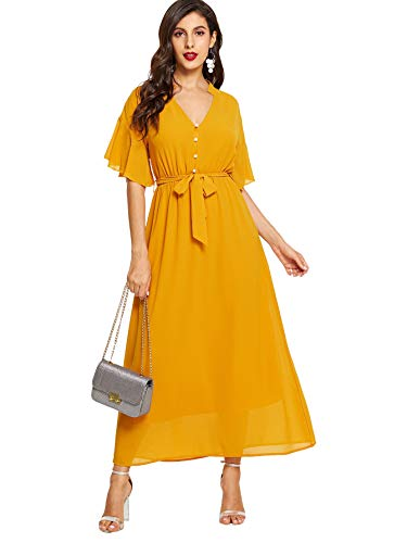 Milumia Women's Boho Split Tie-Waist Vintage Print Maxi Dress Yellow-3 L