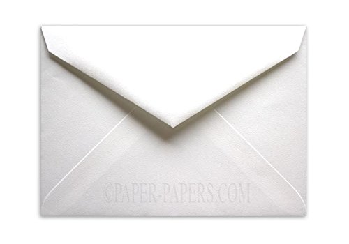 Outer Envelopes - 100% Cotton Brilliant White 7-BAR Outer (5-1/2-x-7-1/2) Envelopes 25-pk - 118 GSM (32/80lb Text) PaperPapers -great Invitation, Card and DIY Greeting Envelopes